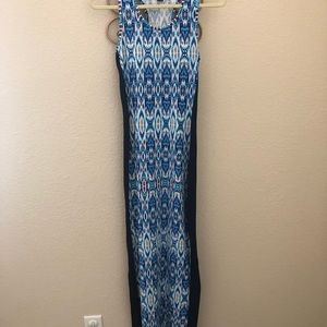 Blue maxi dress with design down the middle